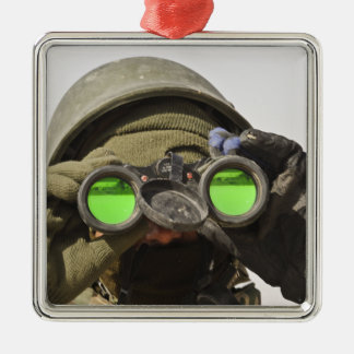 An Afghan soldier scans the horizon Christmas Ornament