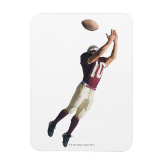an african american football player in a red and rectangular photo magnet