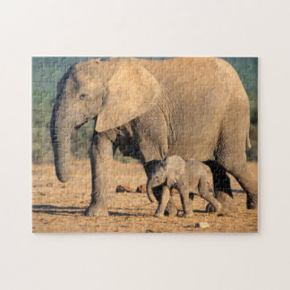 An African Elephant mother and calf on the move Jigsaw Puzzle