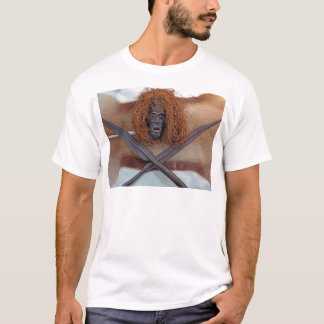 An African mask with a spear on an antelope coat. T-Shirt