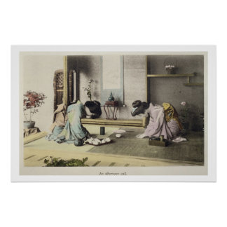 An Afternoon Call, c.1880 (hand coloured albumen p Poster
