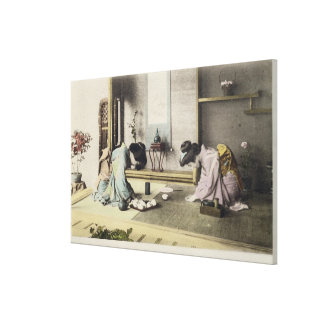 An Afternoon Call, c.1880 (hand coloured albumen p Stretched Canvas Print