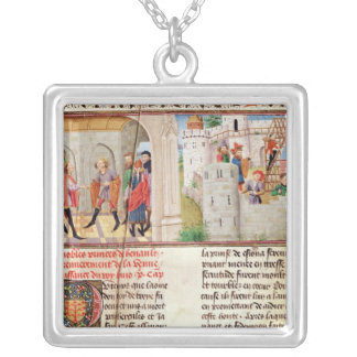 An Agreement and the Building of a Castle Silver Plated Necklace