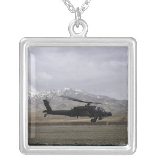 An AH-64A Apache taking off Silver Plated Necklace