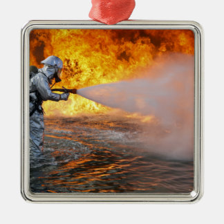An aircraft rescue firefighting team christmas ornament