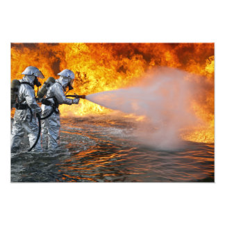 An aircraft rescue firefighting team photo print