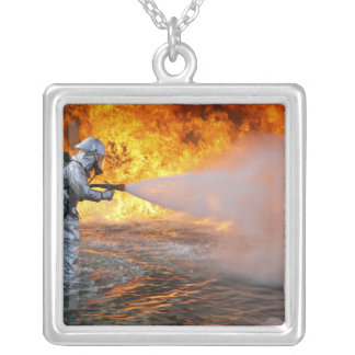An aircraft rescue firefighting team silver plated necklace