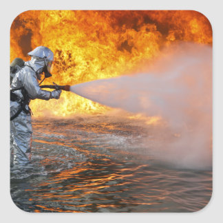 An aircraft rescue firefighting team square sticker