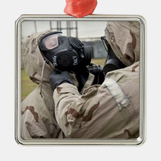 An Airman assists his wingman Christmas Ornament