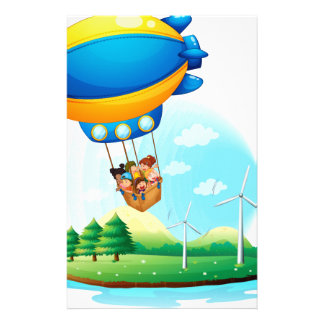 An airship with kids passing over an island customized stationery