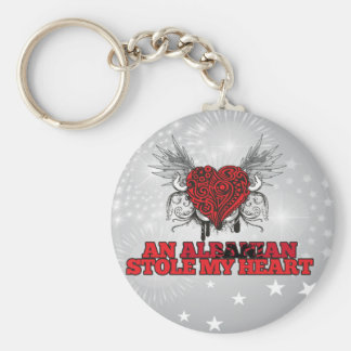 An Albanian Stole my Heart Basic Round Button Key Ring