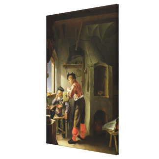 An Alchemist and his Assistant in their Workshop Canvas Print