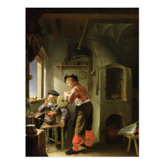 An Alchemist and his Assistant in their Workshop Postcard