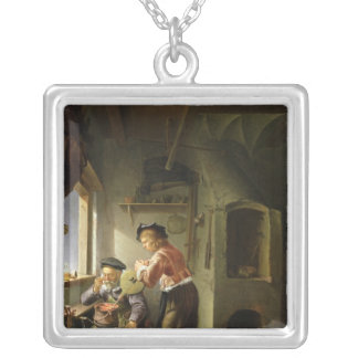An Alchemist and his Assistant in their Workshop Silver Plated Necklace