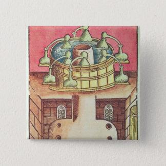 An alchemist's water-bath or bain-marie 15 cm square badge
