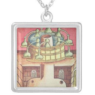 An alchemist's water-bath or bain-marie silver plated necklace