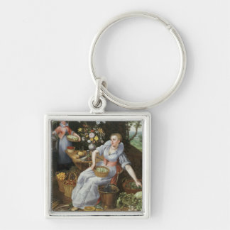 An Allegory of Summer Silver-Colored Square Key Ring