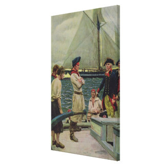 An American Privateer Taking a British Prize Canvas Print