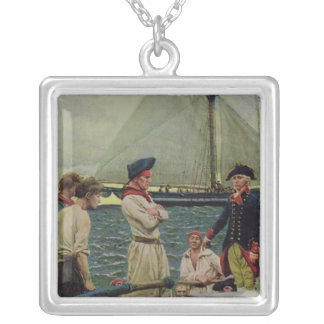 An American Privateer Taking a British Prize Silver Plated Necklace