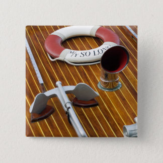 An Anchor And A Life-Buoy On A Wooden Boat 15 Cm Square Badge