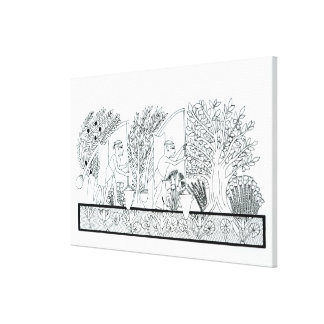 An ancient Egyptian garden (engraving) (b/w photo) Canvas Print
