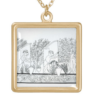 An ancient Egyptian garden (engraving) (b/w photo) Gold Plated Necklace