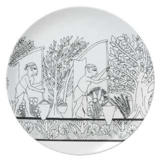 An ancient Egyptian garden (engraving) (b/w photo) Party Plate