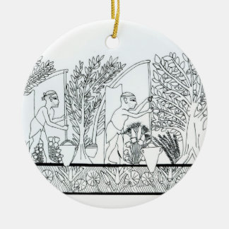 An ancient Egyptian garden (engraving) (b/w photo) Round Ceramic Decoration