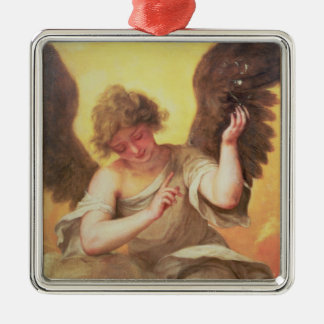 An Angel holding a Glass Flask Christmas Ornament