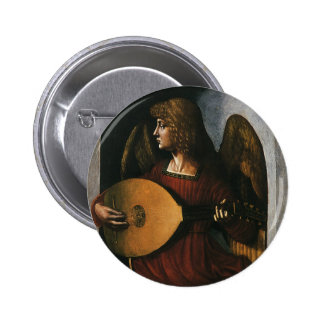 An Angel in Red with a Lute by Leonardo da Vinci 6 Cm Round Badge