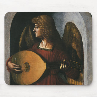 An Angel in Red with a Lute by Leonardo da Vinci Mouse Mat