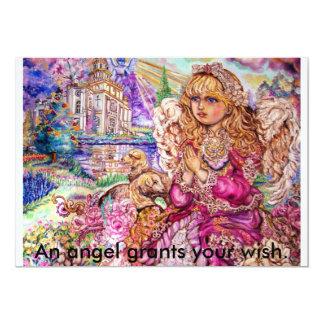 An angel of praying., An angel grants your wish. 13 Cm X 18 Cm Invitation Card