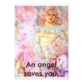An angel of the tulip., An angel saves you. 13 Cm X 18 Cm Invitation Card