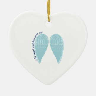 an Angel Watches over me Ceramic Heart Decoration