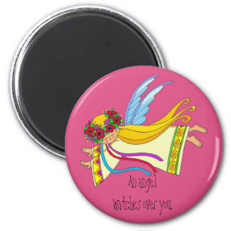 An Angel Watches Over You 6 Cm Round Magnet