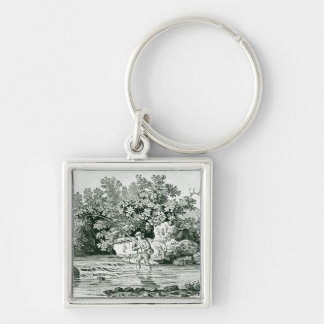 An Angler in a River Pool, from 'British Silver-Colored Square Key Ring