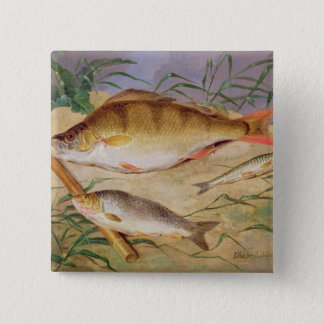 An Angler's Catch of Coarse Fish (oil on panel) 15 Cm Square Badge