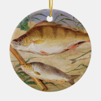 An Angler's Catch of Coarse Fish (oil on panel) Round Ceramic Decoration