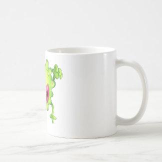 An angry green one-eyed monster basic white mug