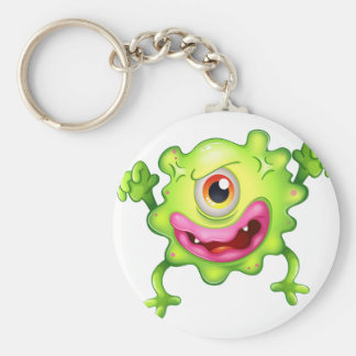 An angry green one-eyed monster basic round button key ring