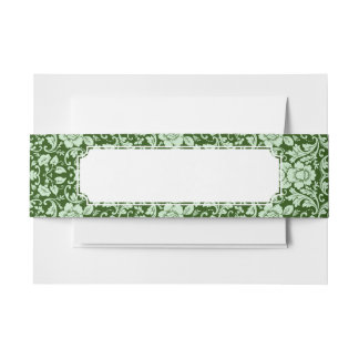 An antique floral damask invitation belly band