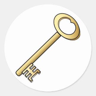 An Antique Gold Key Round Sticker