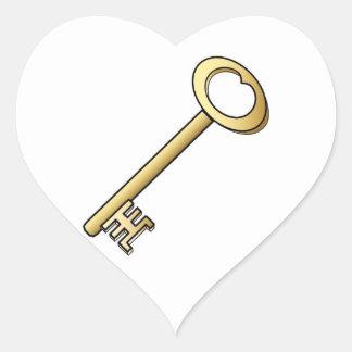 An Antique Gold Key Wedding Hearts Heart Sticker