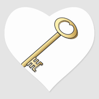 An Antique Gold Key Wedding Hearts Heart Stickers