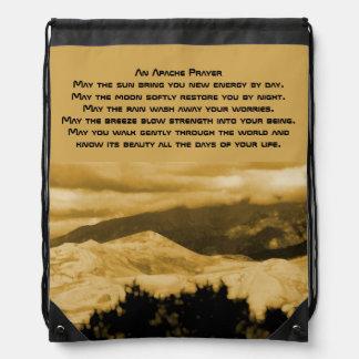 An Apache prayer Drawstring Bags