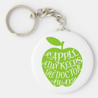 An apple a day keeps the doctor away basic round button key ring
