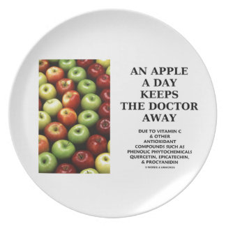 An Apple A Day Keeps The Doctor Away (Food Humor) Party Plates