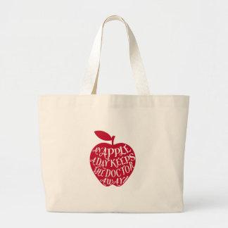 An apple a day keeps the doctor away jumbo tote bag