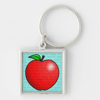 An Apple A Day Keeps The Doctor Away Silver-Colored Square Key Ring