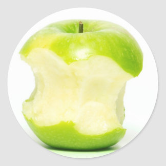 An apple a day keeps the doctor away round sticker